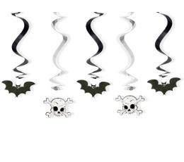 """Karināmas dekorācijas """"Sikspārņi un galvaskausi"""" (5 gab)"""