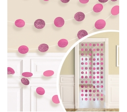 Karināmas dekorācijas, spīdīgas-spilgti rozā (6 gab/2,13 m)