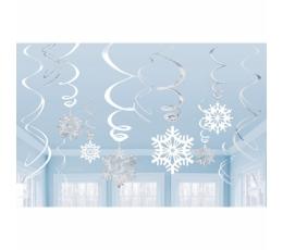 """Karināmas dekorācijas """"Sudraba sniegpārslas"""" (12 gab)"""
