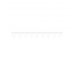 Karodziņu virtene, balta ar krāsainiem punktiņiem (2,74 m)