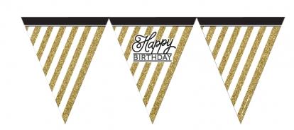 """Karodziņu virtene """"Happy Birthday"""",melna-zelta (3,7 m)"""
