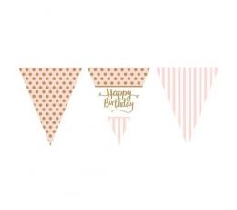 """Karodziņu virtene """"Happy Birthday"""", rozā un zelta (3,7 m)"""