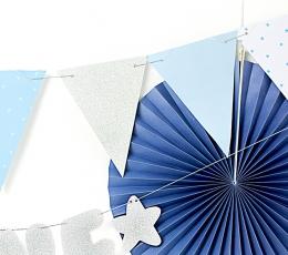 Karodziņu virtene, zila-sudraba (1,3 m) 1