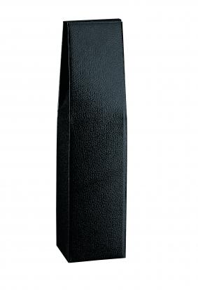 Kastīte pudelei, melnas ādas imitācija  (9X9X37 cm)