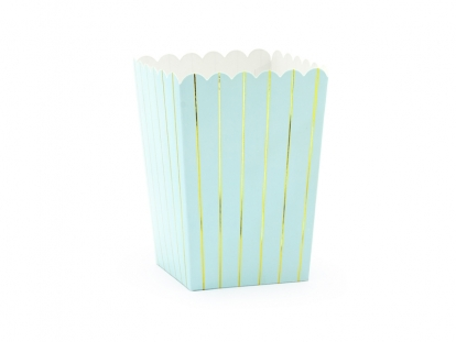 Коробочки для закусок, голубые с золотыми полосками (6 шт)