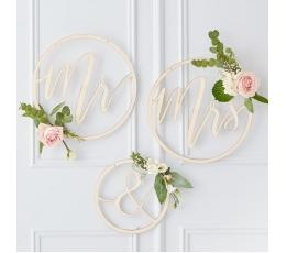 "Koka dekorācijas-riņķi ""Mr & Mrs"""