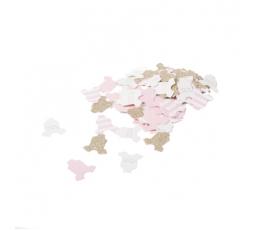 "Konfeti ""Baby girl"", rozā - zelta (100 gab./3 cm)"