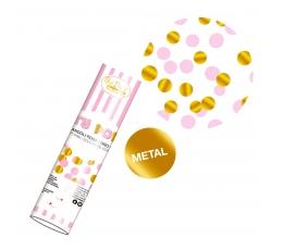 Konfeti plaukšķene, rozā - zelta (20 cm)