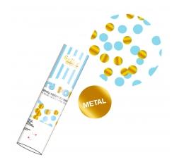 Konfeti plaukšķene, zils - zelta (20 cm)
