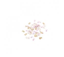 """Konfeti """"Zaķi"""", rozā zelta krāsā (120 gab. / 1,3 - 2,5 cm)"""