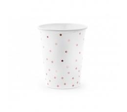 Glāzītes, baltas ar rozā - zelta punktiņiem (6 gab./18 cm)