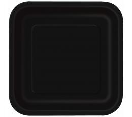 Kvadrātaini šķīvīši, melni (16 gab/ 17 cm)