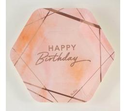 """Šķīvīši  """"Happy birthday """", rozā-zelta (8 gab. / 23 cm)"""