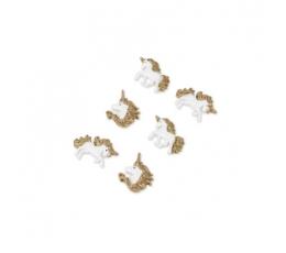 """Līmējami 3D rotājumi """"Zelta vienradži"""" (6 gab. / 3 cm)"""
