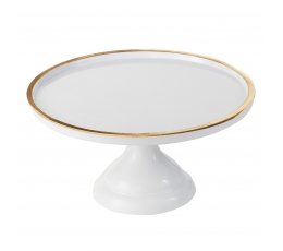 Melamīna kūkas paliktnis, balts ar zelta maliņu (30 cm)