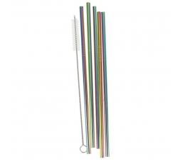 Metāla salmiņi ar birsti, daudzkrāsaini (5 gab)