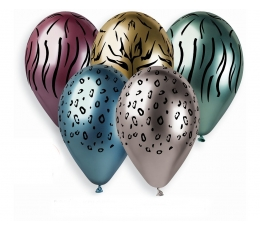 "Metalizēti (chrome) baloni ""Džungļu raksti"" (5 gab. / 33 cm)"