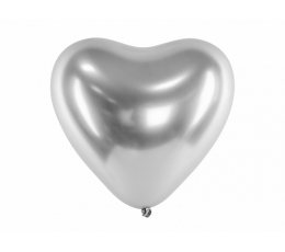 Metalizēts (chrome) balons - sirds, sudraba (30 cm)
