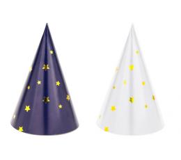 Mini cepurītes baltas/ tumši zilas ar zvaigznītēm (6 gab)
