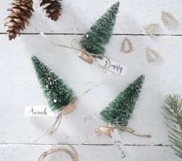 """Mini dekorācijas-vārda kartes """"Zaļas Ziemassvētku eglītes"""" (6 gab) 1"""