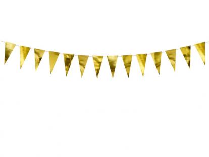 Mini karodziņu virtene, zelta (90 cm)