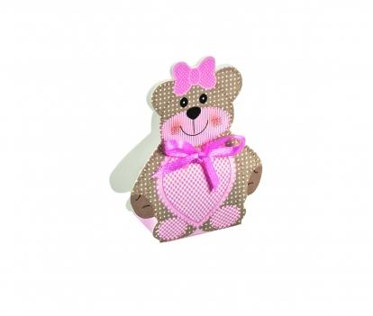 """Mini kastīte, dekorācija """"Lācītis ar rozā lentīti """" (6X4X1,2 cm)"""