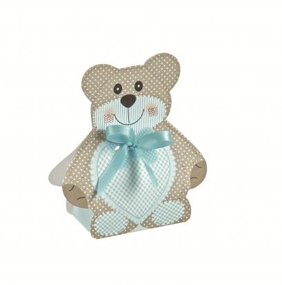 """Mini kastīte, dekorācija """"Lācītis ar zilu lentīti """" (6X4X1,2 cm)"""