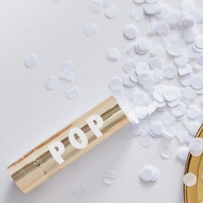"""Mini konfettī plaukšķene """"Pop"""" ar baltiem konfettī (15 cm)"""
