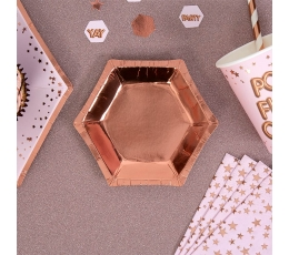 Mini šķīvīšī, rozā-zelta krāsā (8 gab/ 12 cm)