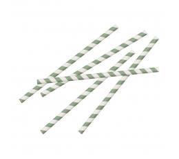 Papīra salmiņi, zaļi strīpaini (20 gab)