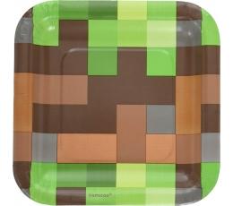 """Papīra šķīvīši """"Minecraft"""" (8 gab / 17 cm )"""