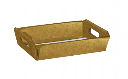 Paplāte ar rokturiem, zelta (31X22X9 cm)