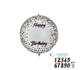 Personalizēts folija balons ar uzlīmēm, sudraba (46 cm)