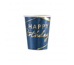 Glāzītes , zilas ar zelta rakstiem  (8 gab. / 250 ml)