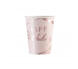 Glāzītes , rozā ar zelta rakstiem (8 gab. / 250 ml)