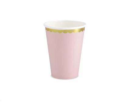 Glāzītes, maigi rozā ar zelta maliņu (6 gab/ 220ml)