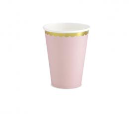 Glāzītes, maigi rozā ar zelta maliņu (6 gab/ 220ml) 0