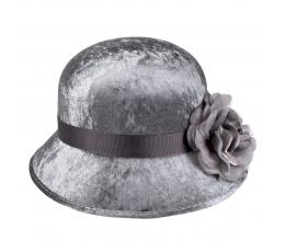Retro cepure ar ziedu, pelēka