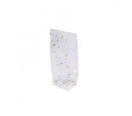 """Saldumu - dāvanu maisiņi, caurspīdīgi """"Zelta zvaigznītes (6 gab./11,5 x 18,5cm)"""