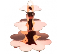 Saldumu statīvs, rozā - zelta krāsā (3 stāvi)