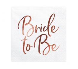 "Salvetes ""Bride to be"", baltas -rozā zelta (20 gab)"