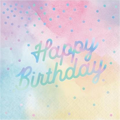 "Salvetes ""Happy Birthday"", pastel -perlamutrs (16 gab)"