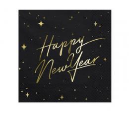 """Salvetes """"Happy New Year"""", melnas (20 gab)"""