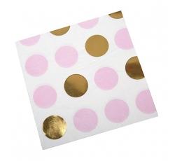 Salvetes, rozā-zelta punktainas (16 gab)