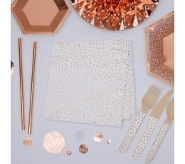 Salvetes, rozā zelta punkti (16 gab)