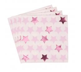 """Salvetes """"Rozā zvaigznītes"""" (16 gab)"""
