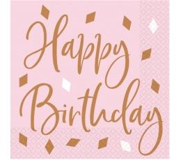 "Salvetes""Happy Birthday"", rozā - zelta ( 16 gab.)"