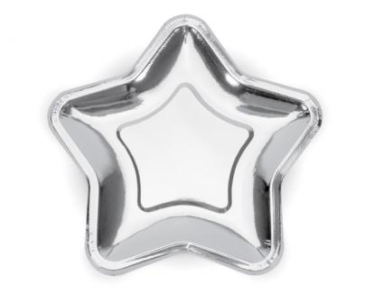 "Šķīvīši, formīgi ""Zvaigznītes"", sudraba (6 gab/ 23 cm)"