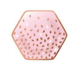 """Šķīvīši """"Happy Birthday"""", rozā - zelta ( 8 gab./23 cm)"""