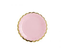 Šķīvīši, maigi rozā ar zelta maliņu (6 gab/ 18 cm)
